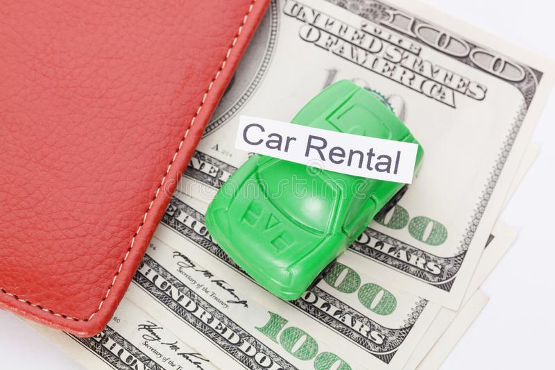 Car money With sign - Car Rental. Payments and costs. Car money With sign - Car Rental. Payments and costs stock image
