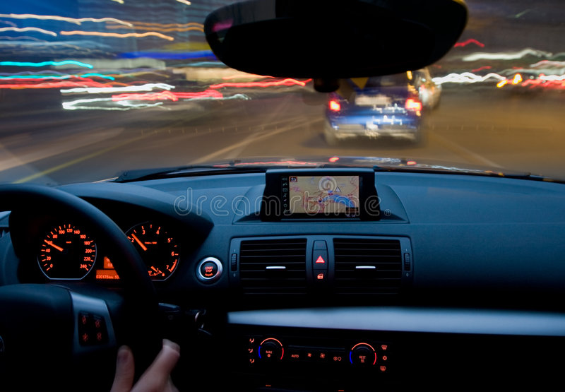 Car motion moving very fast. Inside of a car moving very fast, zooming motion stock photos