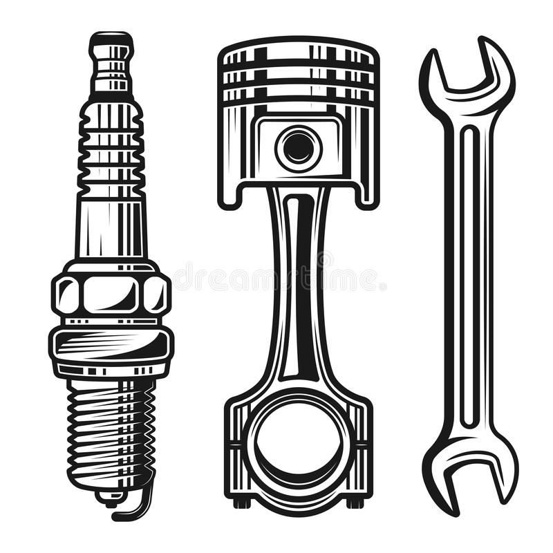 Car or motorcycle repair parts vector objects stock illustration