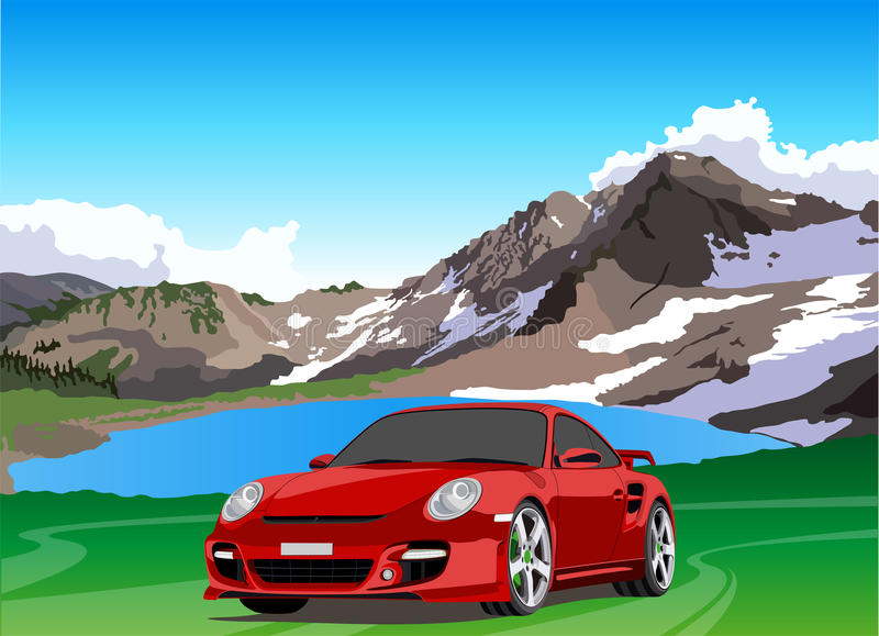 Car and mountain lake. Car against the backdrop of a mountain lake royalty free illustration