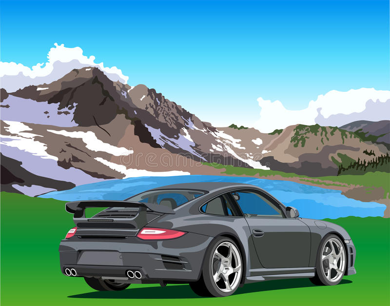 Car and mountain lake. Car against the backdrop of a mountain lake vector illustration