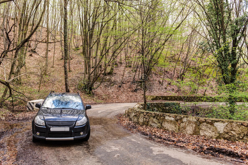 Car on a mountain road royalty free stock photo