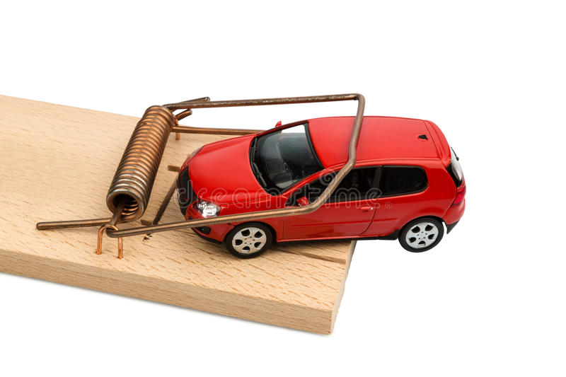 Car in mousetrap stock photography