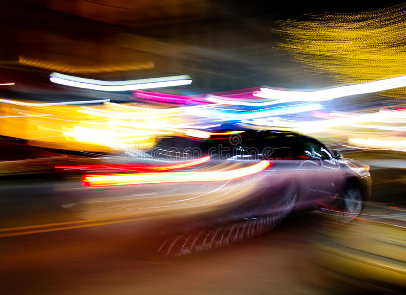 Car moving fast stock photo