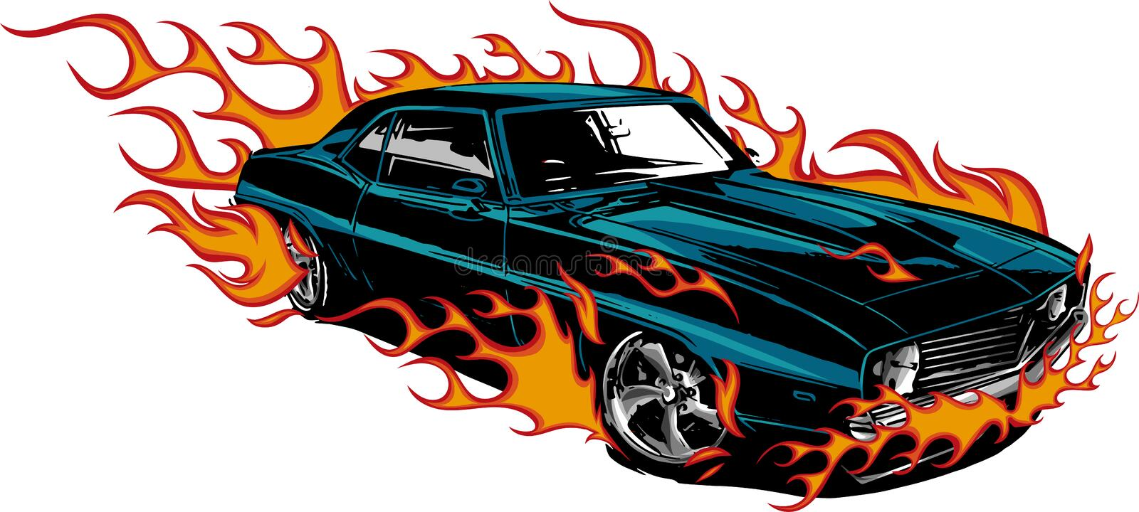 Car muscle old 70s vector illustration with flames vector illustration