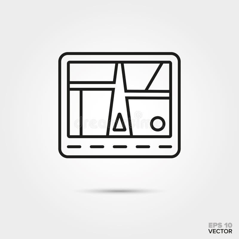 Car navigation system line icon vector. Car navigation system vector line icon. Automotive parts, repair and service symbol stock illustration