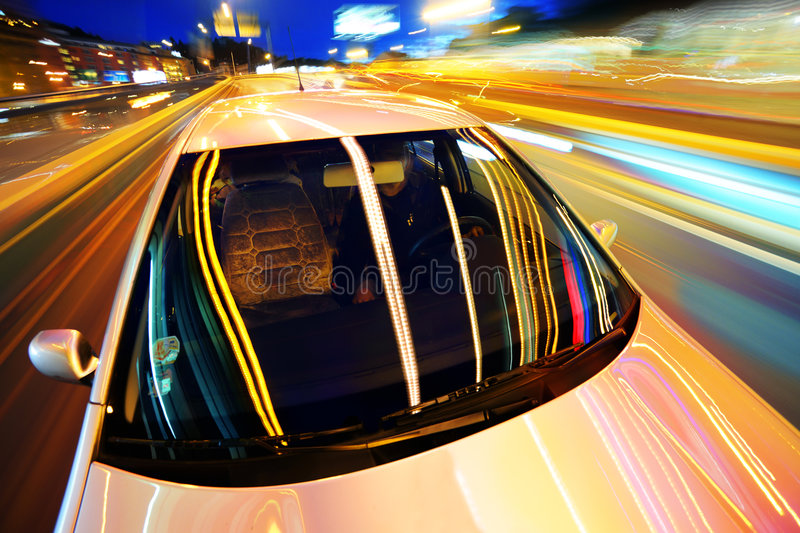 Car in night city royalty free stock image