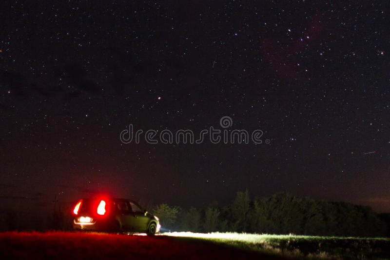 Car and night sky royalty free stock image