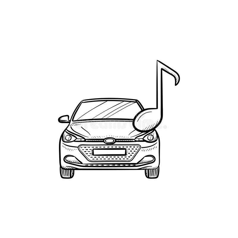 Car with a note hand drawn outline doodle icon. royalty free illustration