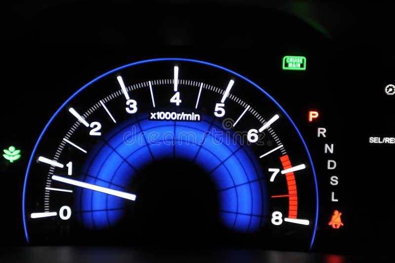 Car Odometer. Car Speed odometer sitting in the dashboard stock photo