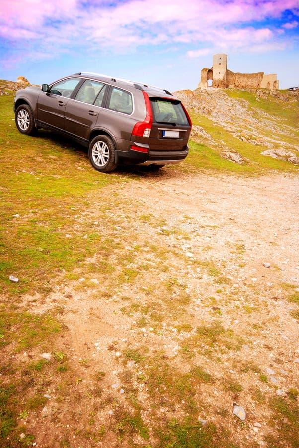 Car offroad - castle stock photos