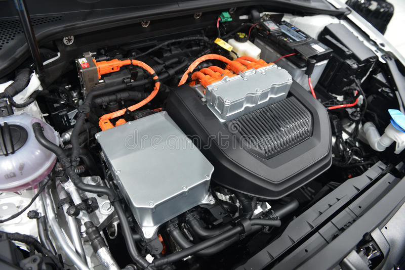 Car with open hood. Car engine details stock photo