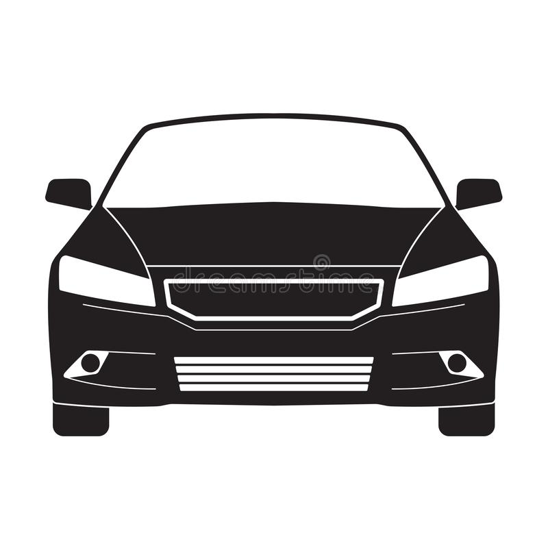 Car outline icon or sign. Vector black vehicle silhouette isolated on white background. Front view. stock illustration