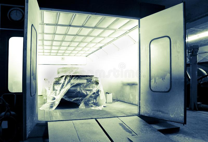 Car painting booth royalty free stock photo