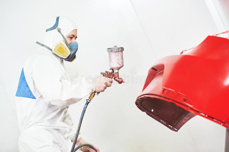Car painting in chamber royalty free stock photography