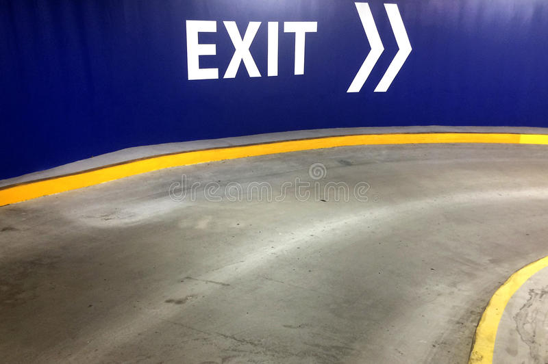 Car park exit sign with directional arrow. Transport transportation background royalty free stock photo