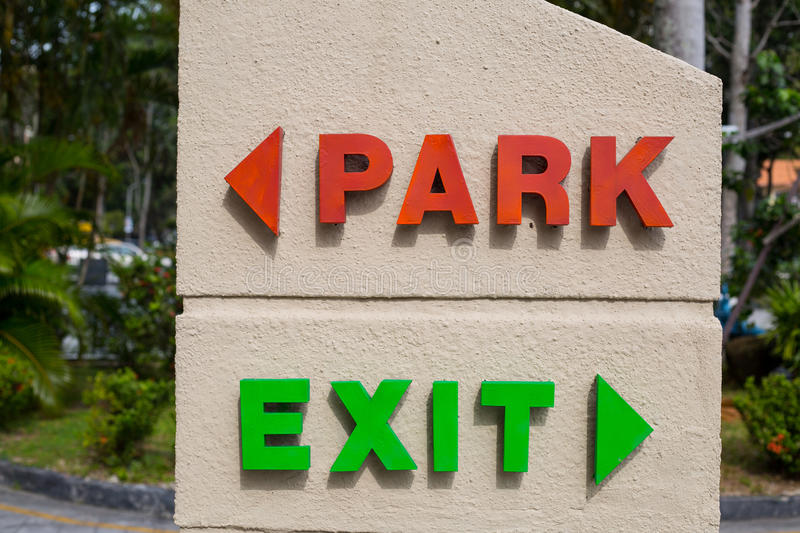 Car park and exit text. For notice driver royalty free stock images