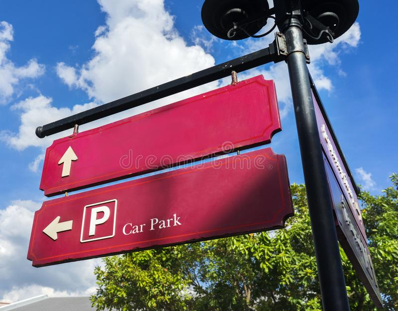 Car park signboard color outdoor in the city photo stock image