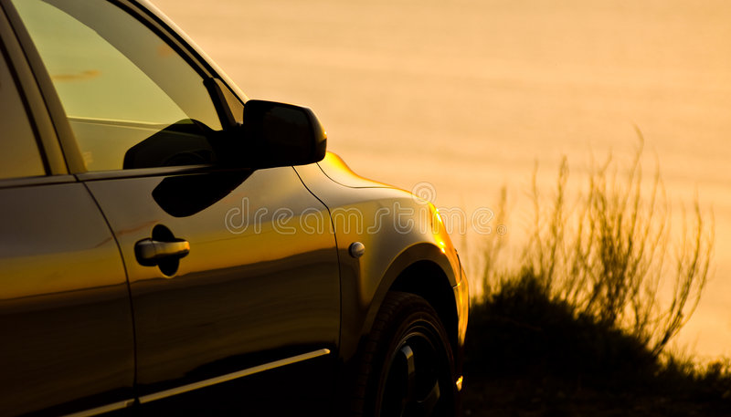 Car parked at the beach royalty free stock photography