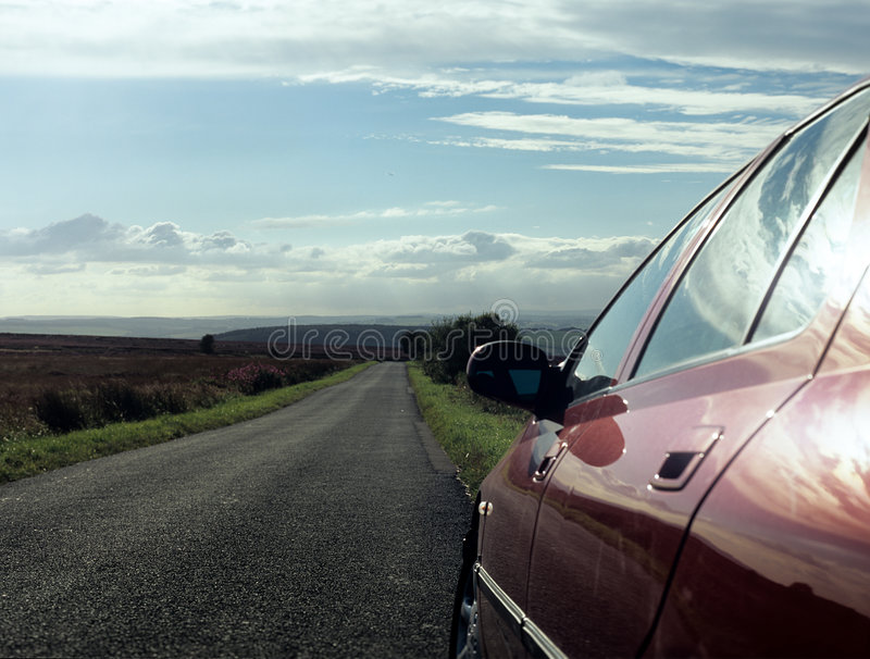 Car parked on country road. Side of car parked along single track road,Location peak district England stock images
