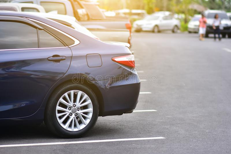 Car parked on road,Car parked on street. Way royalty free stock photography