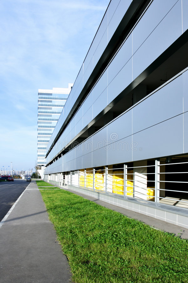 Car parking. Perspective of car parking near office building royalty free stock photos