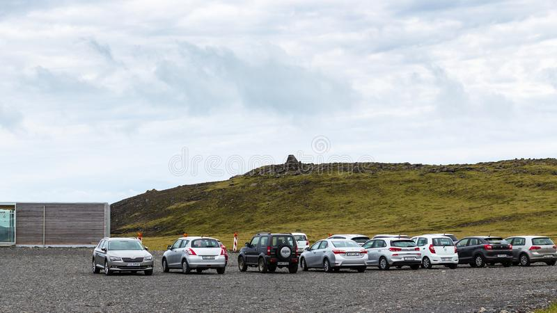 Car parking area on Dyrholaey peninsula in Iceland stock photos
