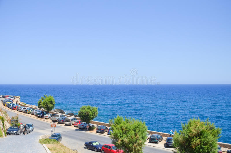 Car parking on the beach stock image