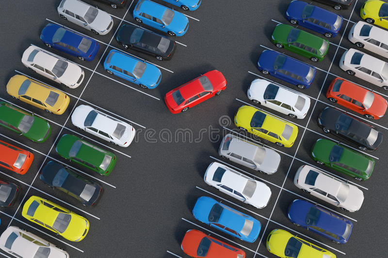 Car is parking in full parking lot. 3D rendered illustration. View from top.  royalty free illustration