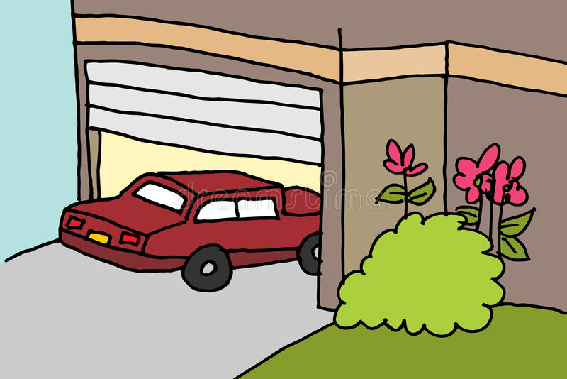 Car parking in a garage royalty free illustration