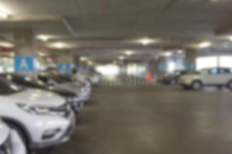 Car parking lot interior blur background ,Abstract Blurred.  stock images