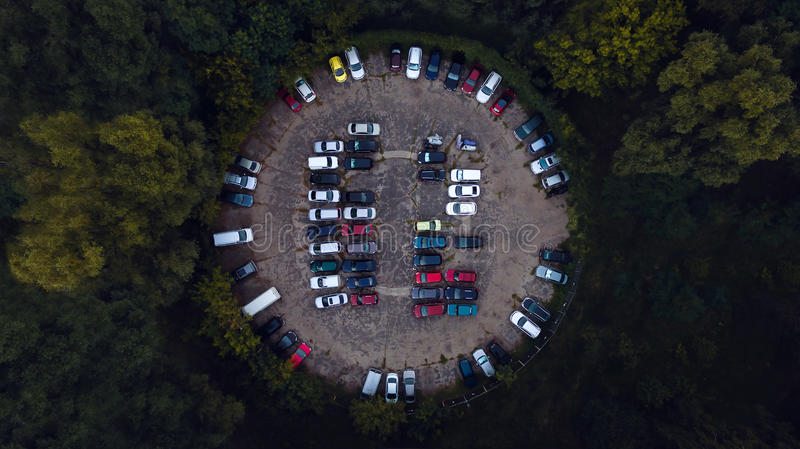 Car parking lot viewed from above, Aerial view stock images