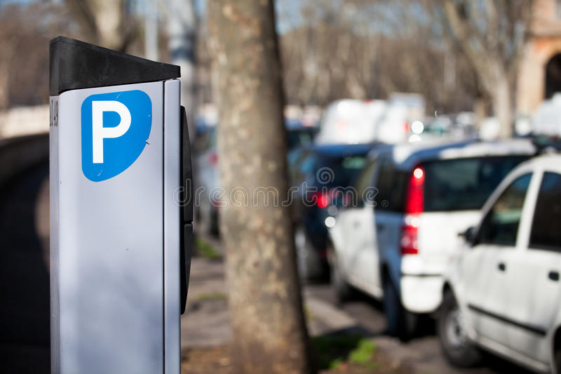 Car parking meter. Metered Rome, Italy. royalty free stock image