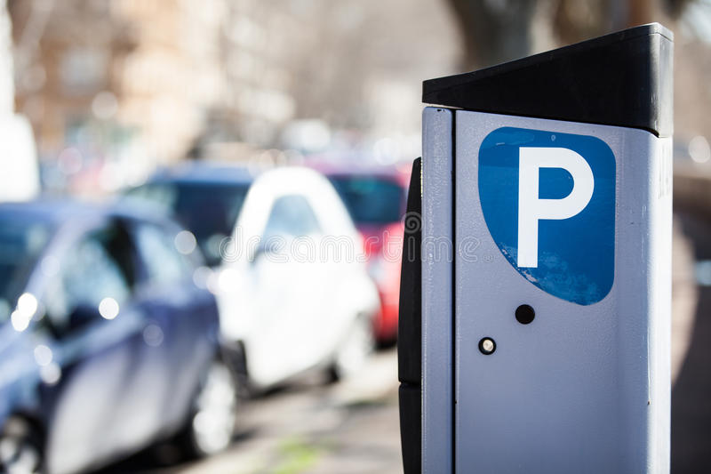 Car parking meter. Metered Rome, Italy. stock photos