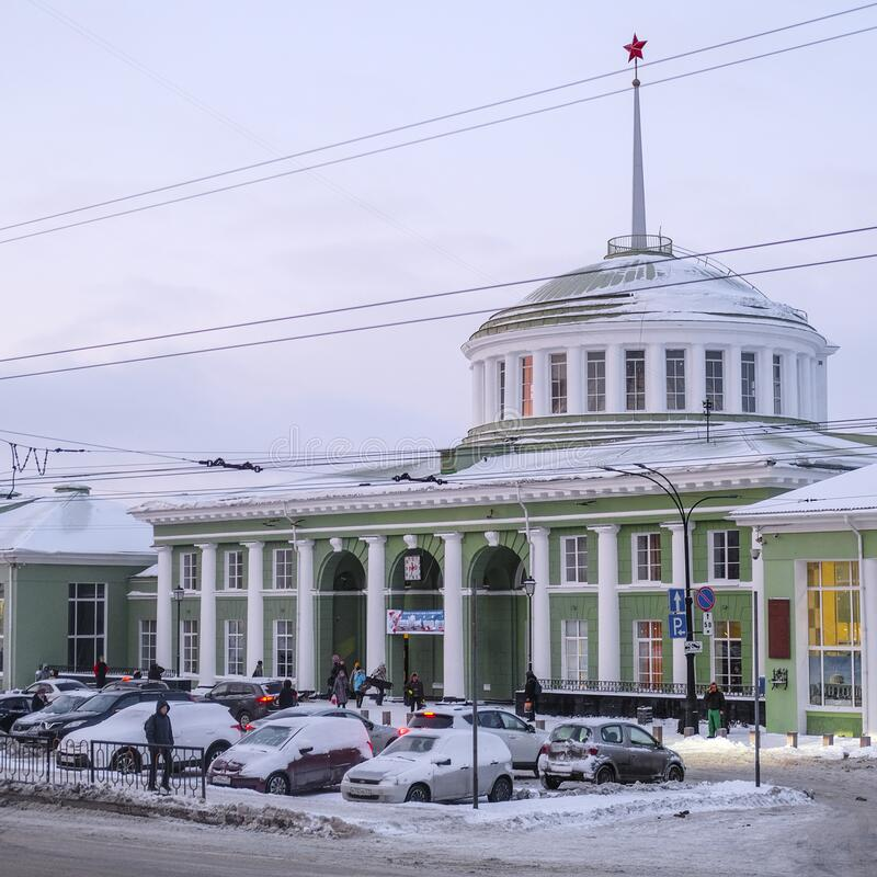 Car on a parking near the building of Murmansk railway station stock photography