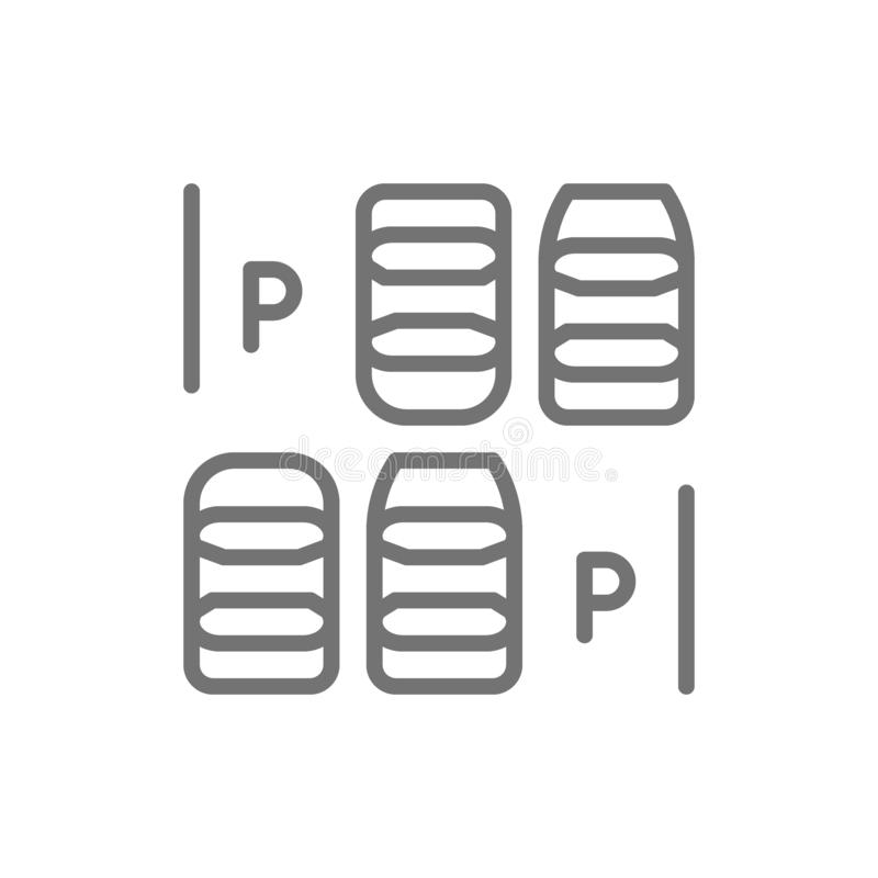 Car parking space line icon. Isolated on white background vector illustration