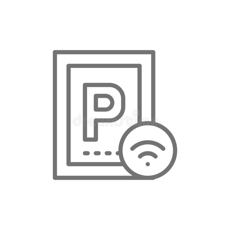 Car parking with Wi-Fi, smart parking area line icon. royalty free illustration