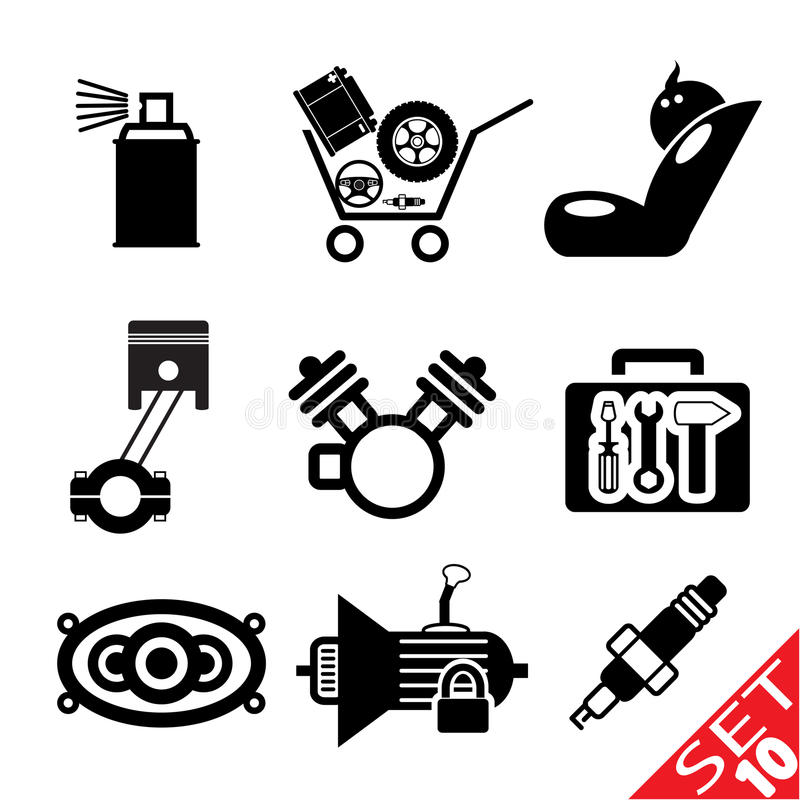 Car Part Icon Set 10 Stock Photos