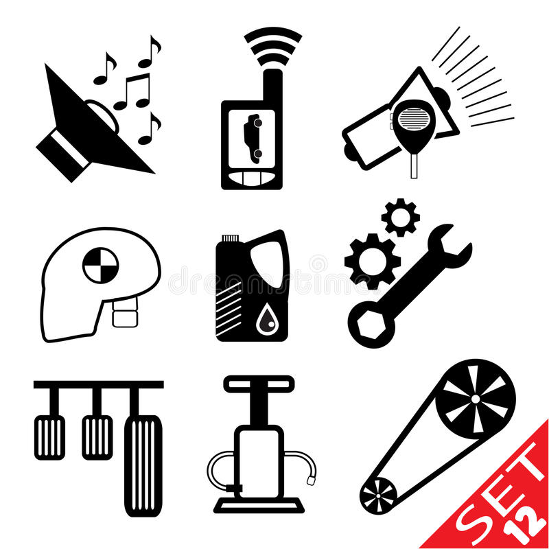 Download Car part icon set 12 stock vector. Image of brake, note - 23780500