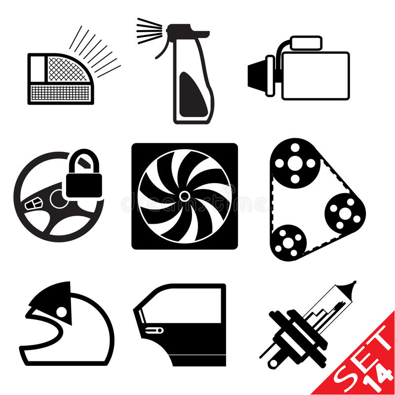 Download Car part icon set 14 stock vector. Image of black, engine - 23780896