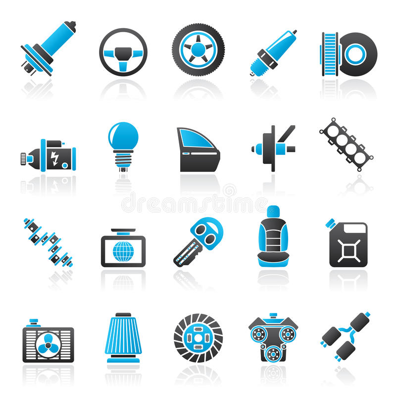 Car part and services icons 1. Vector icon set royalty free illustration