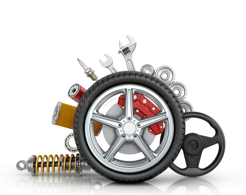 Car parts around the wheel vector illustration