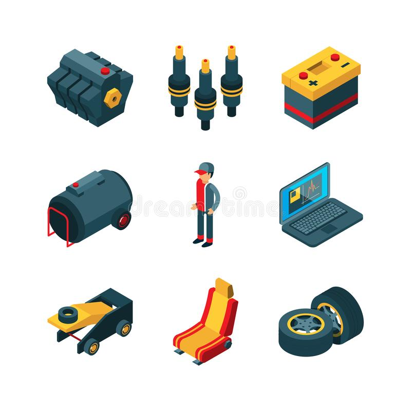 Free Car Parts. Auto Shop Automobile Items Transmission Engine Gears Wheel Vector Isometric Stock Photos - 141643263
