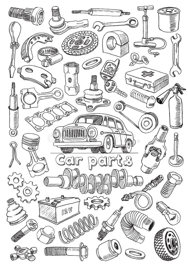 Car Parts In Freehand Drawing Style Stock Vector - Illustration of ...