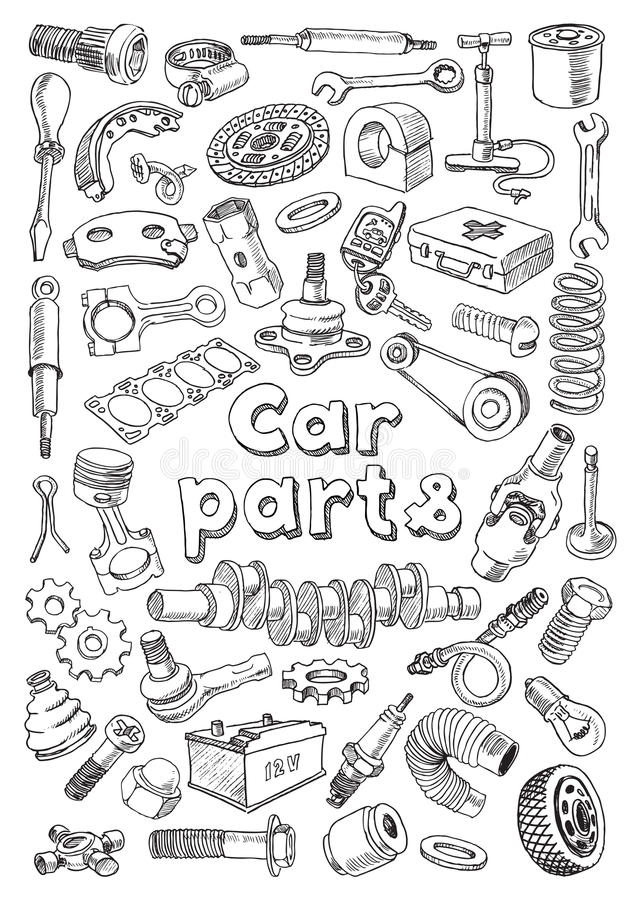 Car Parts In Freehand Drawing Style Stock Illustration ...