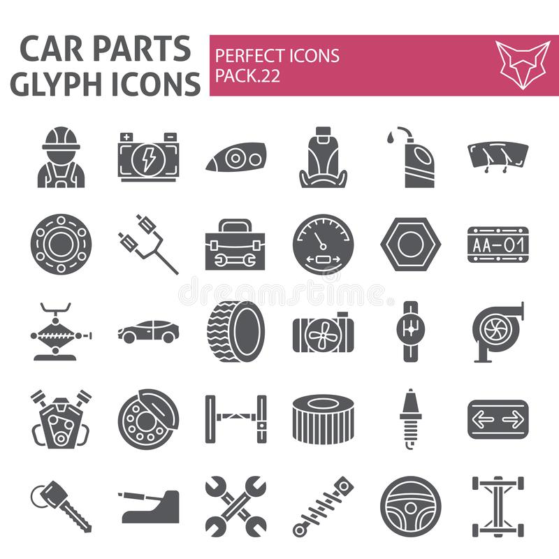 Car parts glyph icon set, automobile symbols collection, vector sketches, logo illustrations, auto repair signs solid stock illustration