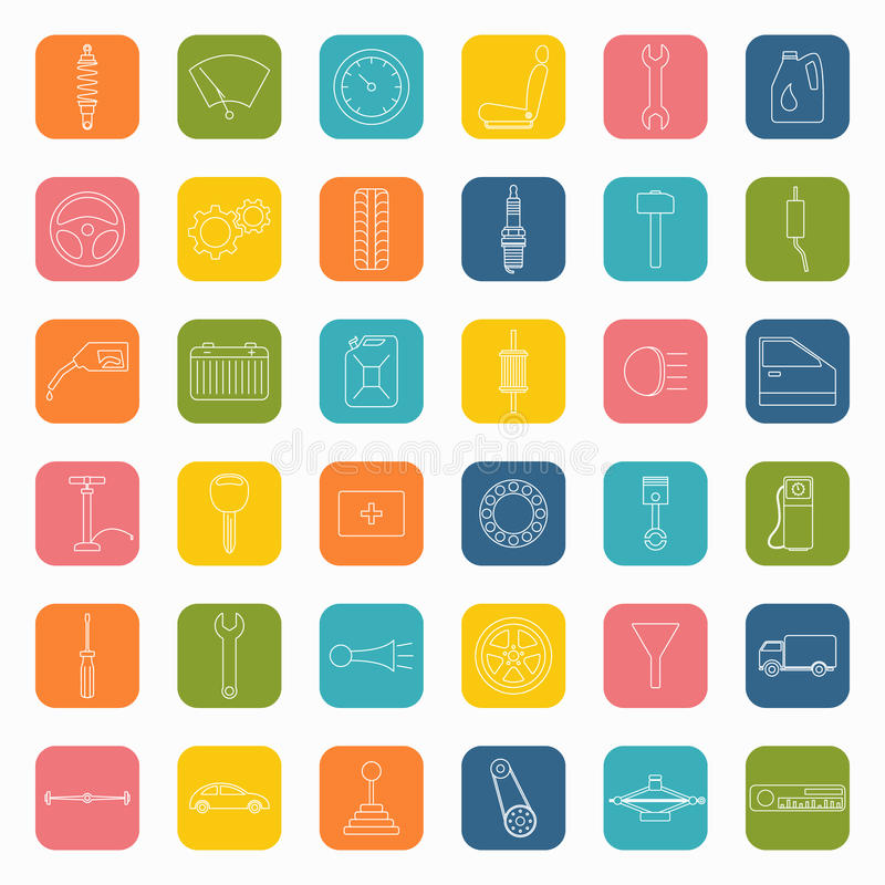 Car parts icons in flat style stock illustration