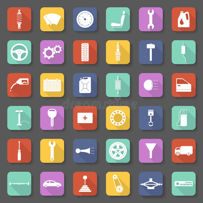 Car parts icons set in flat style. vector illustration