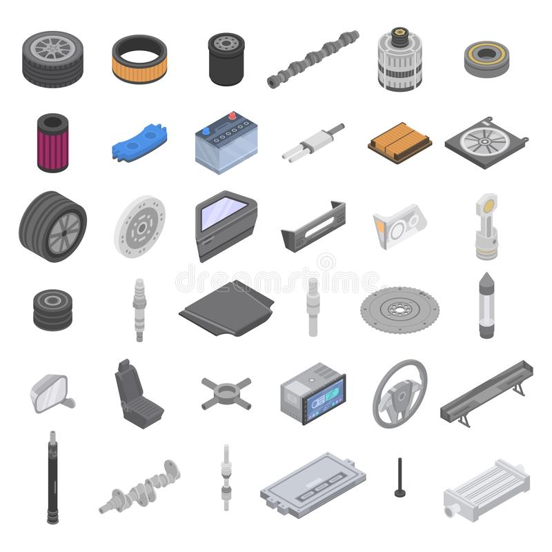 Car parts icons set, isometric style vector illustration