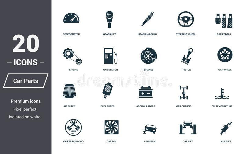Car parts icons set. Premium quality symbol collection. Car parts icon set simple elements. Ready to use in web design, apps, soft royalty free illustration